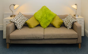 Homely cushioned sofas